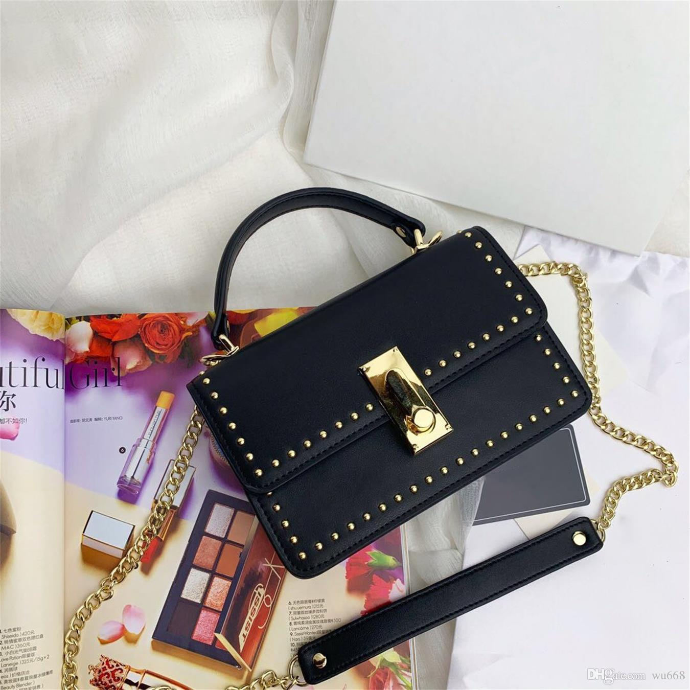 2019 explosion shoulder bag, imported leather, with stylish rivets, portable shoulder strap, cabinet with zipper bag, double-layer capacity,