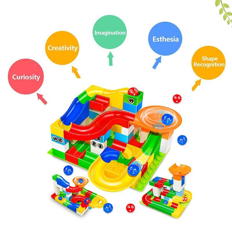 74-296 PCS Corrida De Mármore Corrida Bloco Labirinto Bola Pista Blocos de Construção ABS Funil Deslize Montar Tijolos Blocos Brinquedos Para Crianças