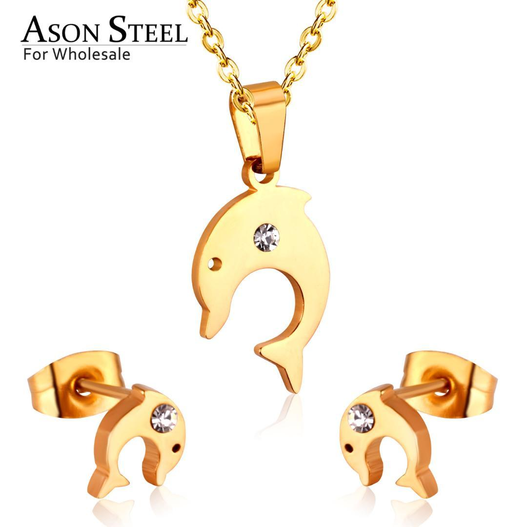 ASONSTEEL Gold Color 316L Stainless Steel Jewelry Sets For Women 2019 Dolphin Necklace Small Stud Earrings For Femme