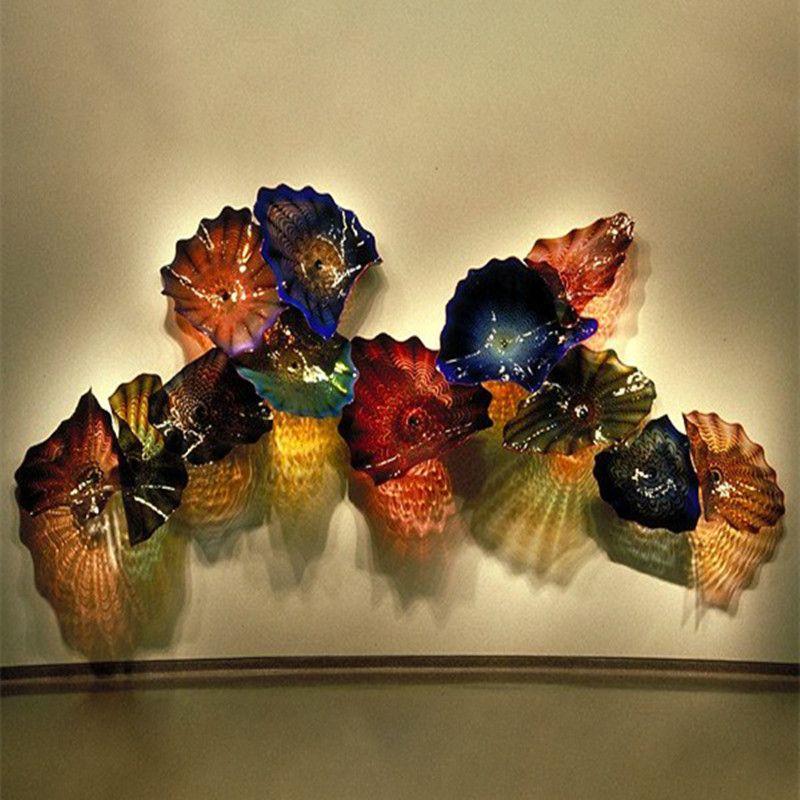 Современного искусство цветок украшение стены искусство Лампа OEM Mouth Сгорел боросиликатное стекло Craft муранское стекло цветок Висячим настенных светильников