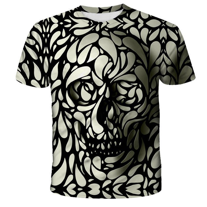 Männer T-Shirt 3D Schädel lässige Männer T-Shirt mit dem berühmten Marke jungen Mode-lustigen T-Shirts Männer-Kleidung Hip-Hop-Tops T-Shirts drucken