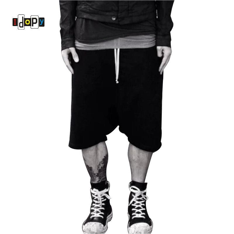 Highstreet Summer Mens Drop Crotch Shorts Baggy Loose Drawstring Hip Hop Black Urban Clothes Joggers Harem Shorts For Male J190511