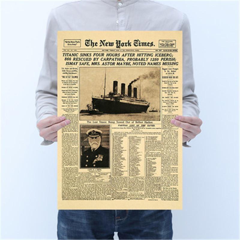 Clásico The New York Times Historia del cartel Titanic naufragio Viejo Periódico retro Papel Kraft decoración del hogar