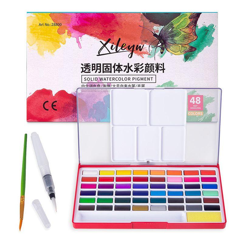 Peintures Aquarelle pigment solide avec l'aquarelle Pinceau Set 12/18/24/36/48 Couleurs Voyage Portable pour la peinture Art Supplies
