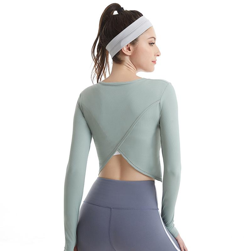 Women's Sports Yoga Shirts Long Sleeve Crop Top Seamless Gym Fitness Running Workout Tops for Women Hollow Out Sportswear