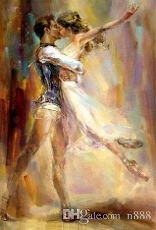 Razumovskaya Man woman Dancing kiss Ballet Handmade Portrait Art Oil Painting On Canvas For Wall Decor Multi Sizes / Frame Ab85 200311