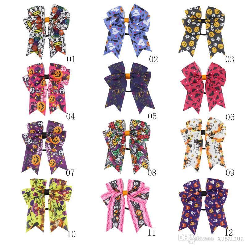 12 stili 10x12cm Abbastanza costine nastro del bambino di bowknot Hairbands Halloween fiocco in tessuto fatti a mano accessori per capelli bambina