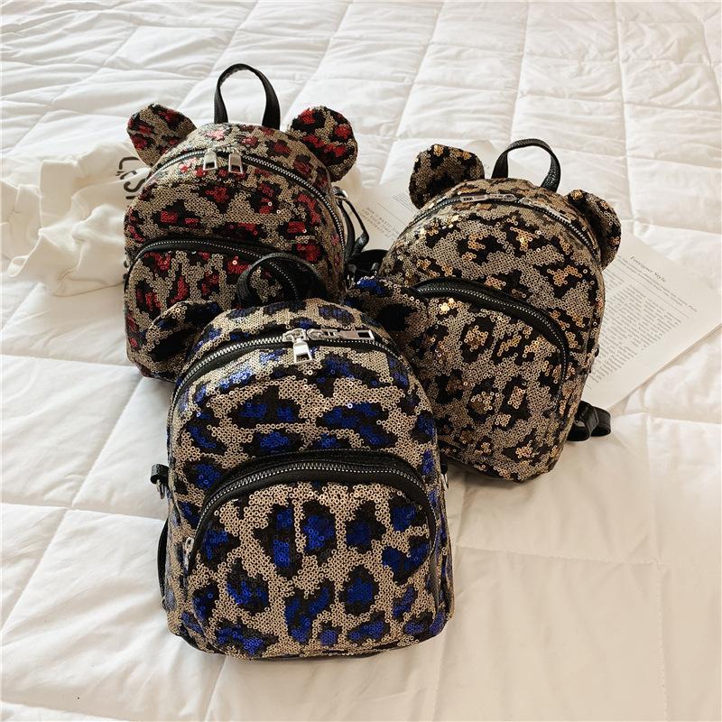 أطفال على ظهره الأطفال الكورية الترتر الجلود ليوبارد الظهر رياض الأطفال حقيبة الفتيان الفتيات الأزياء الفاخرة مصمم حقائب حقيبة مستحضرات التجميل