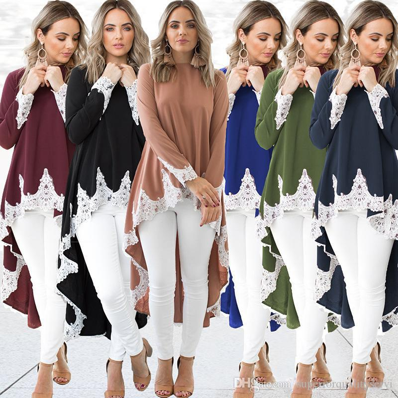 Women dresses Women Clothes Fashion lace trim Pure color After short before long High quality Hot selling China women clothing manufacturer