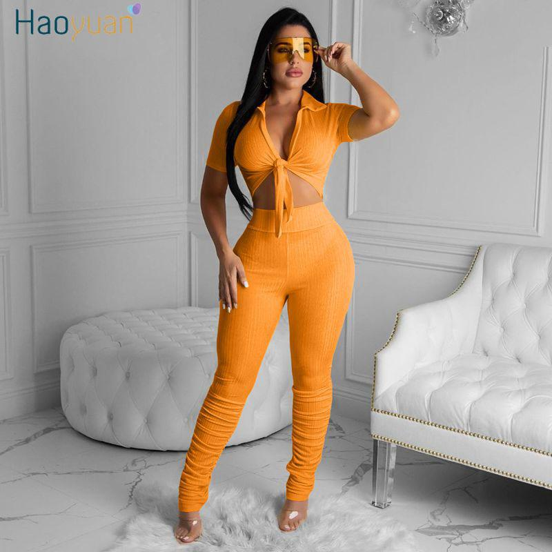 Haoyuan Sexy Rib 2-teiliges Set Frauen-Sommer-Trainingsanzug Matching Sets Crop Top Stacked Pant Trainingsanzug Lounge Wear Zweiteilige Outfits