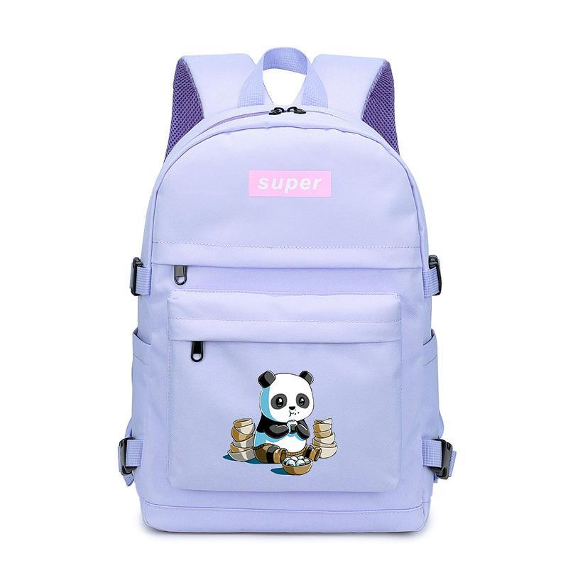 Borse del panda del fumetto zaino Kawaii scuola per le donne zaino da viaggio Teens Ragazzi Rosa bambini Bookbag della tela di canapa donne degli uomini