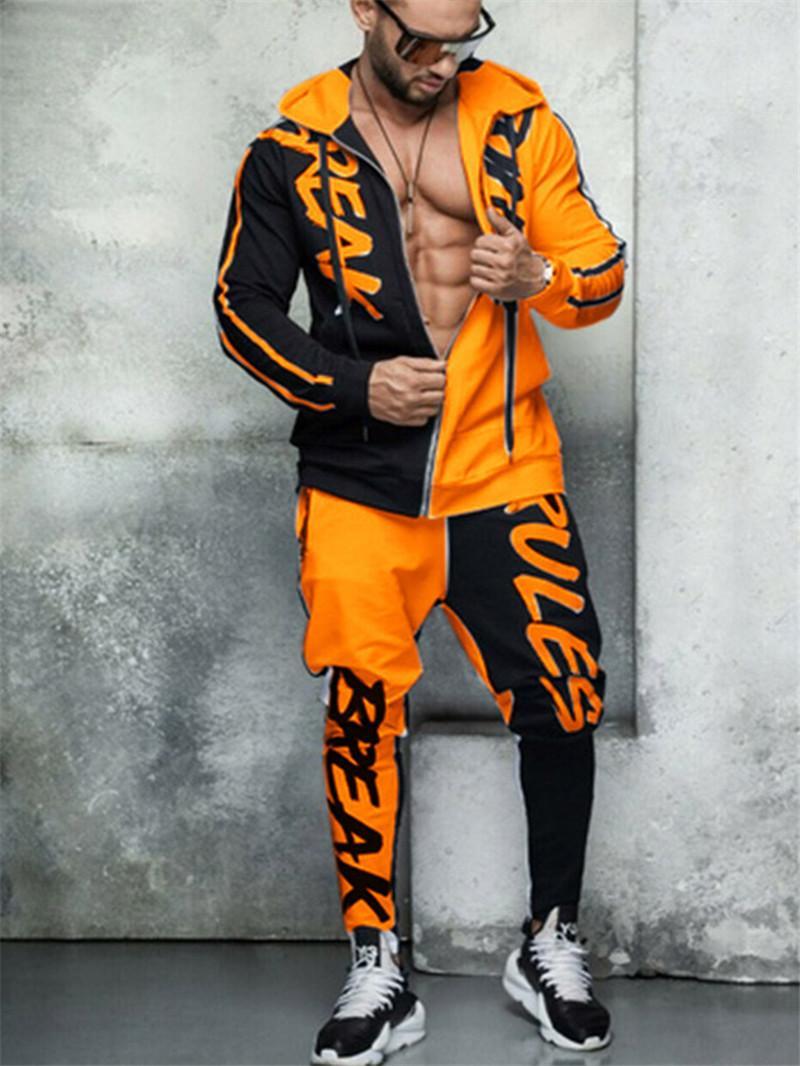 Hip Hop Mens Designer Tracksuits Fashion Letter Printed Contrast Color Two Piece Pants Mens Street Style Traksuits