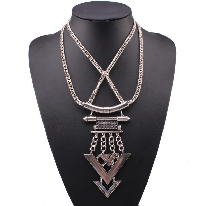 Cadena de moda nuevo diseño Multi de doble collar encadena color aleación de plata de metal de la vendimia Chunky colgante collar de la mujer