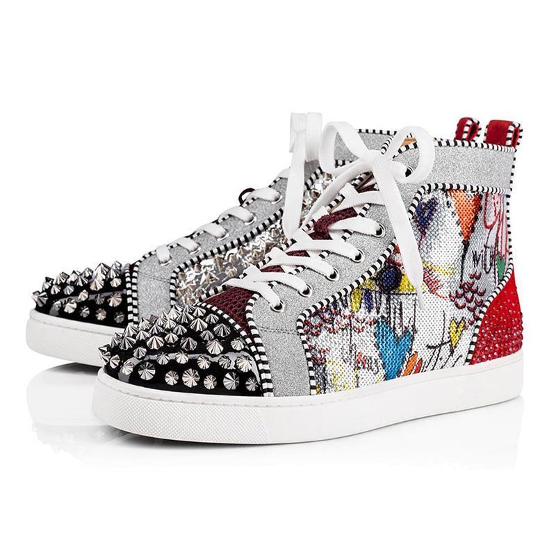 2020 sneakers pico designer de homens mulheres moda azul de couro branco camurça vermelha Graffiti fundos planos tamanho ocasional luxo sapato 36-47 lll