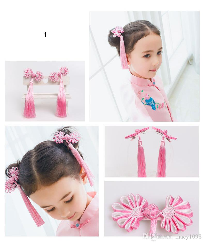 Chinese New Year Baby Girls Princess Flower Hair Clip Barrettes Fancy Dress New