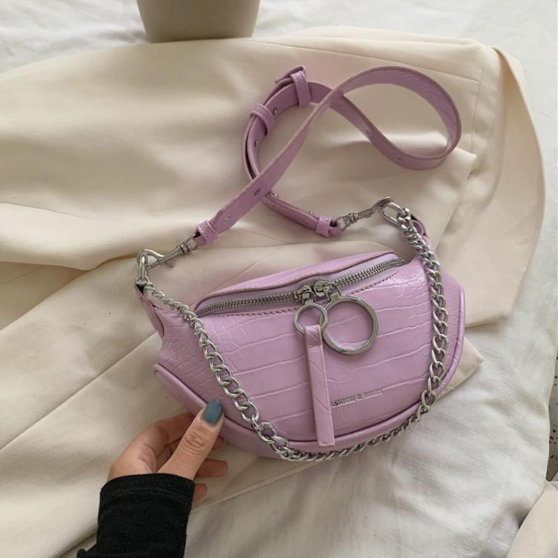 Stone Pattern Pu Leather Fanny Pack For Women 2020 Small Women Shoulder Crossbody Bags Chain Design Female Waist Bag Phone Purse