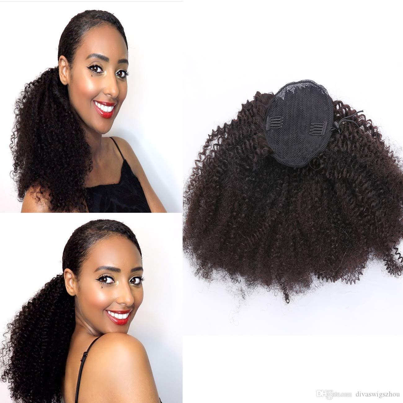 Afro Kinkys Curly Hair Rink Clip rizado rizado en el cabello humano con cierre superior Cordones de cabello Extensiones de cola de caballo Negro natural 120 gramos (16 pulgadas)