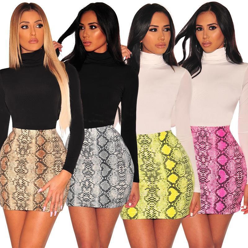 Sexy Womens Snake Print Skirt Summer High Waist Mini Skirt 2020 Fashion Snakeskin Short Pencil Bodycon Femme Slim Package Hip Skirts S-2XL