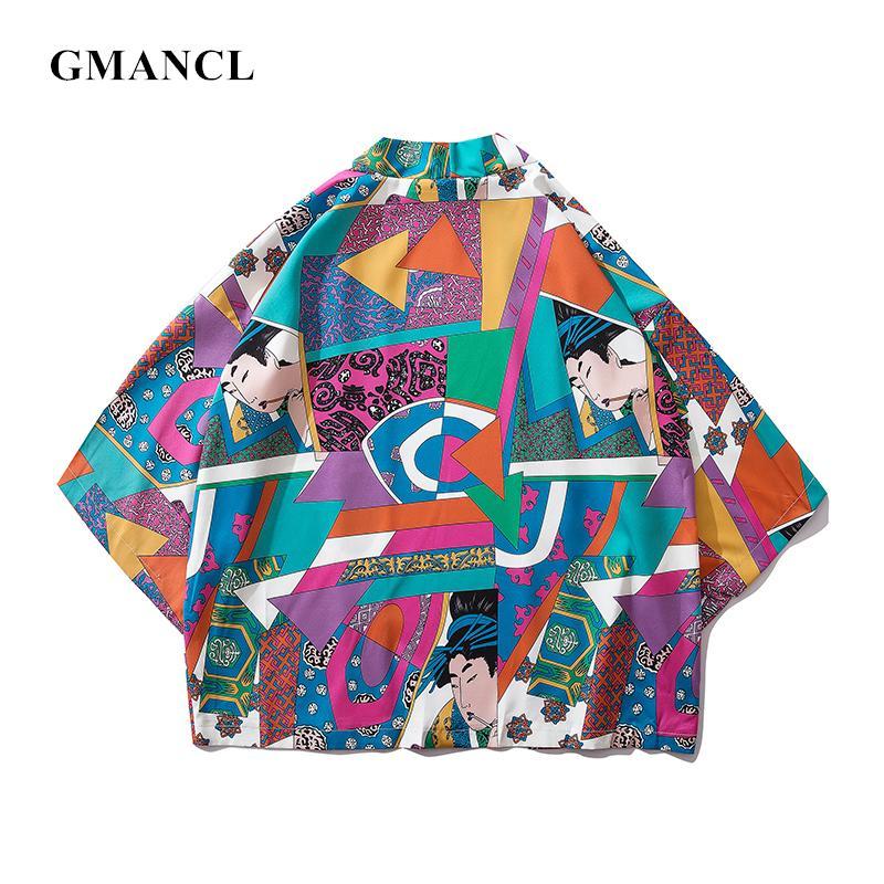 GMANCL Hommes Style Japonais geisha Géométrique imprimé Cardigan Kimono Vestes De Mode Streetwear Hip Hop Mâle manteau Survêtement