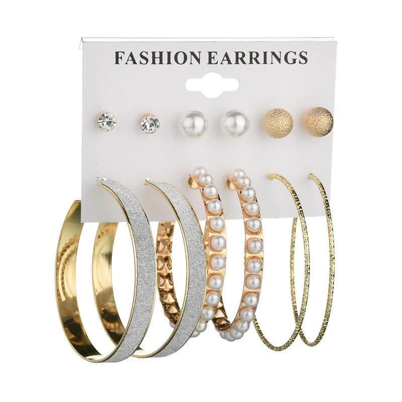 New Vintage Silver Gold Color Mix серьги стержня большой круг серьги наборы для женщин 6 пар / набор Геометрическая жемчужной сережкой