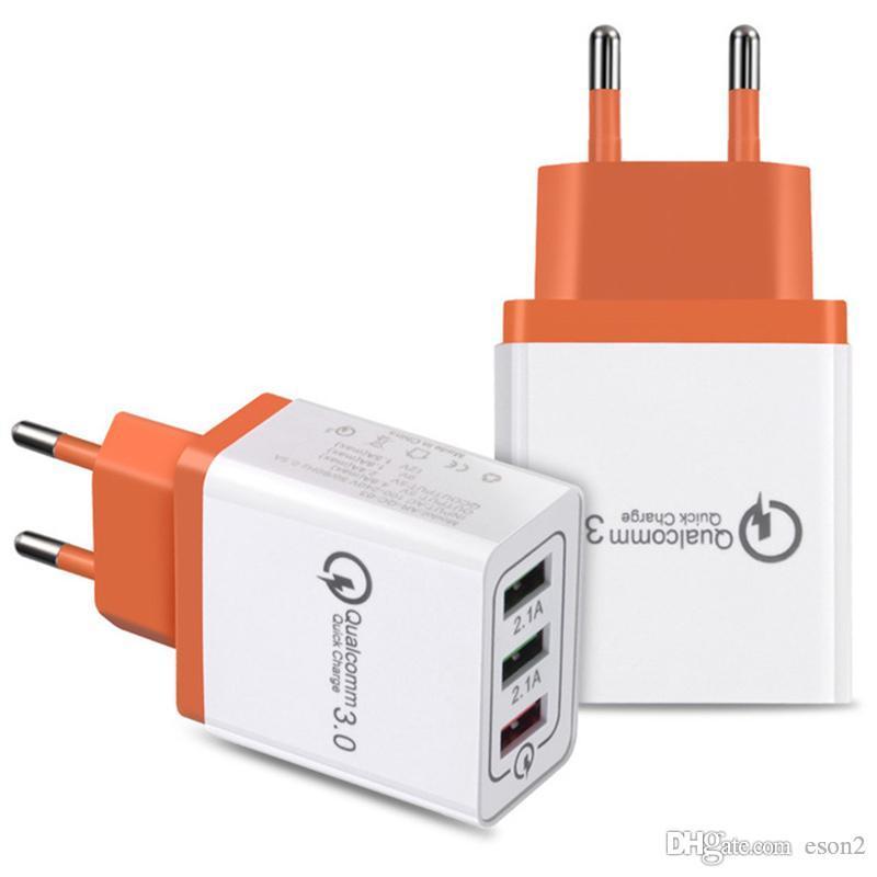 3 Port USB Phone Charger Quick Charge UE US 18W carregamento rápido carregadores de parede adaptador QC3.0 Mobile Phone carregador de parede forsamsung nota 4 5xiaom