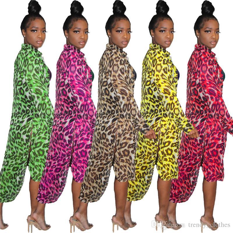 Mulheres Camisa Longa Outerwear Dividir Leopardo Impressão Cape Lapel Pescoço Irregularity Cardigan Casacos de Verão Roupas de Venda QUENTE 1306