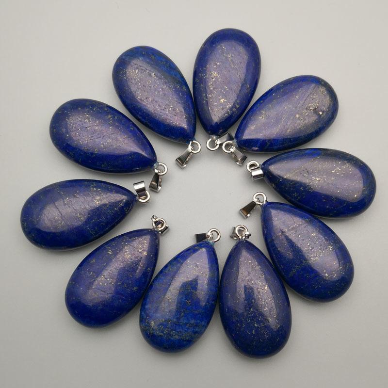 Mode aus Naturstein Lapislazuli Herz Halskettenanhänger für Schmucksachen, die 12pcs / lot Zusätze geben Verschiffen Groß Lapis