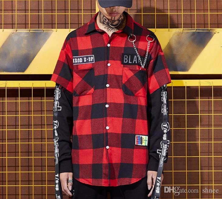 Rote und schwarze karierte Patchwork Shirt Männer Gemusterte Hip Hop Karohemd Street Männer zuknöpfen Shirts Korean Mode
