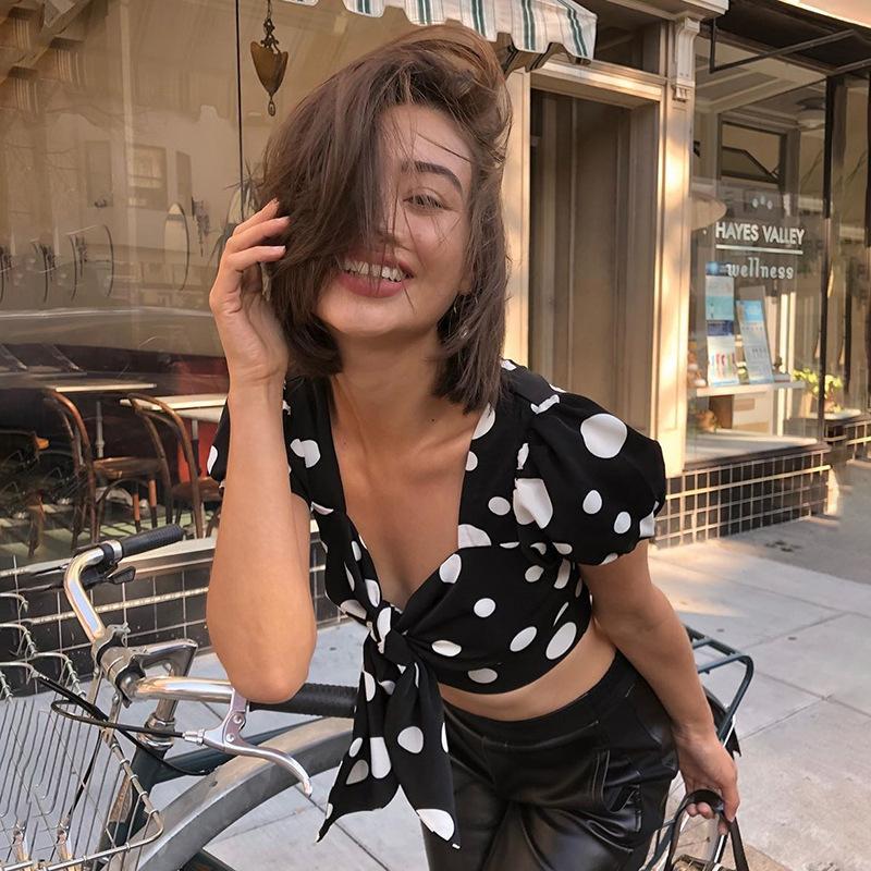 Praia férias de lazer arco manga curta top safra mulheres elegantes Bohemian Dot senhoras T-shirt de impressão 2020summer tees populares