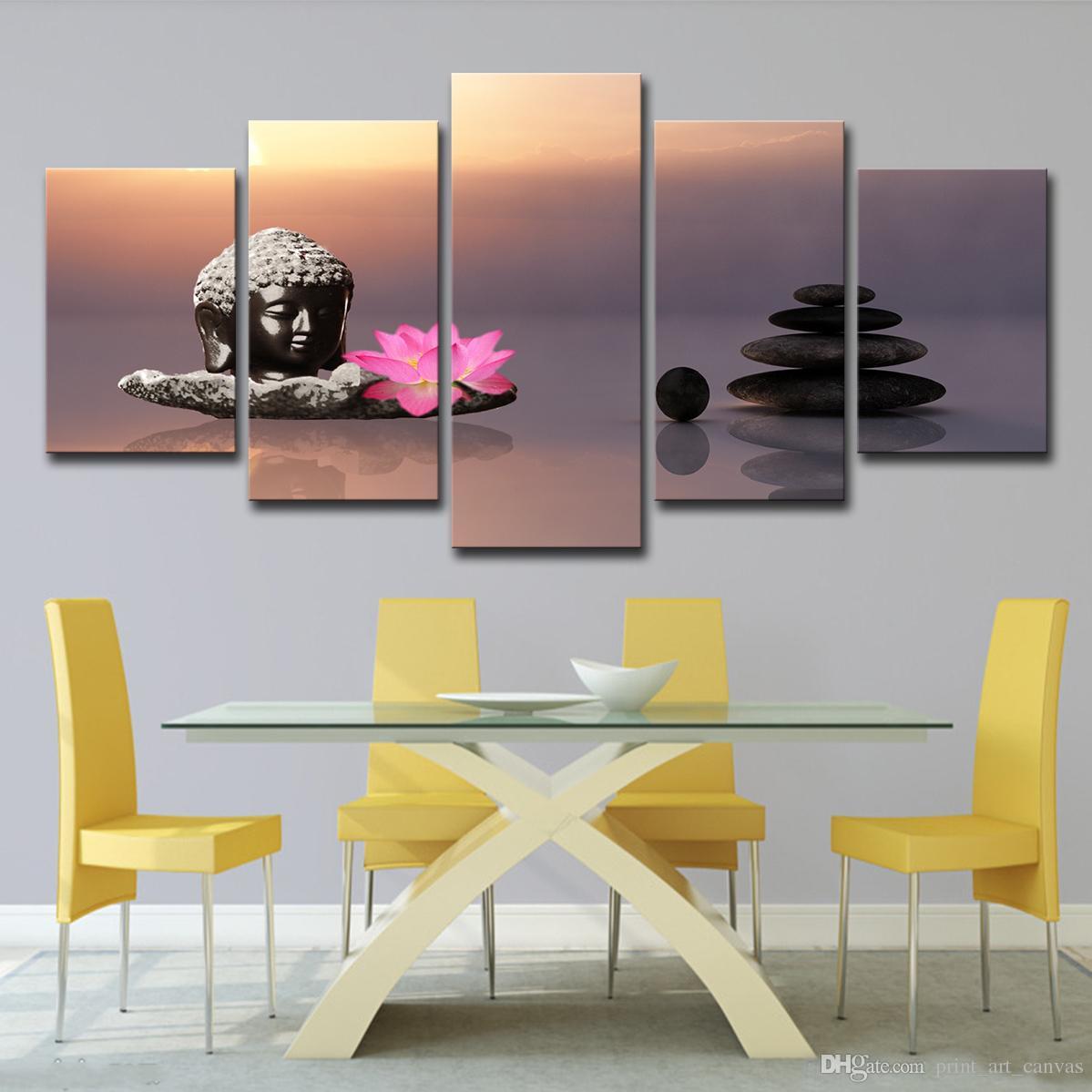 Fleur Pour Decoration Salon acheter mur art décoration de la maison peinture peinture affiche 5 panneau  pierre bouddha rose lotus fleurs pour le salon hd prints photos de 12,96 €