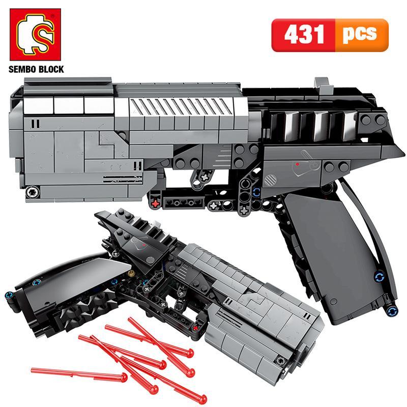 Sembo 431pcs Military City Police Pistol Gun Building Blocks ladrillos Technic conjunto de la pistola de señales establece Juguetes para niños