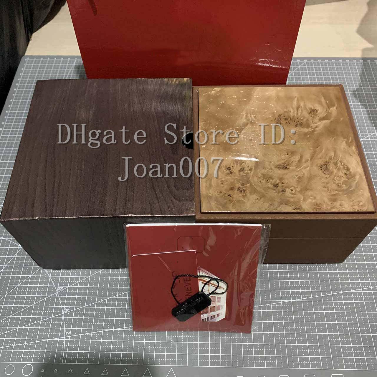 Regarder en gros brun Box New Square boîte brun pour le luxe PP Montres Boîte Whit carte Livret Tags et documents En anglais