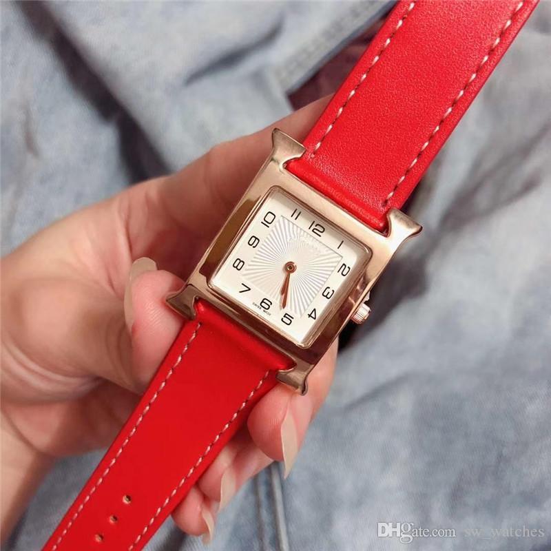 빨간 가죽 여성 로즈 골드 손목 시계 H 브랜드 여성 시계 도매 숙녀 선물 시계 손목 시계 새로운 모델 패션 손목 시계 saati