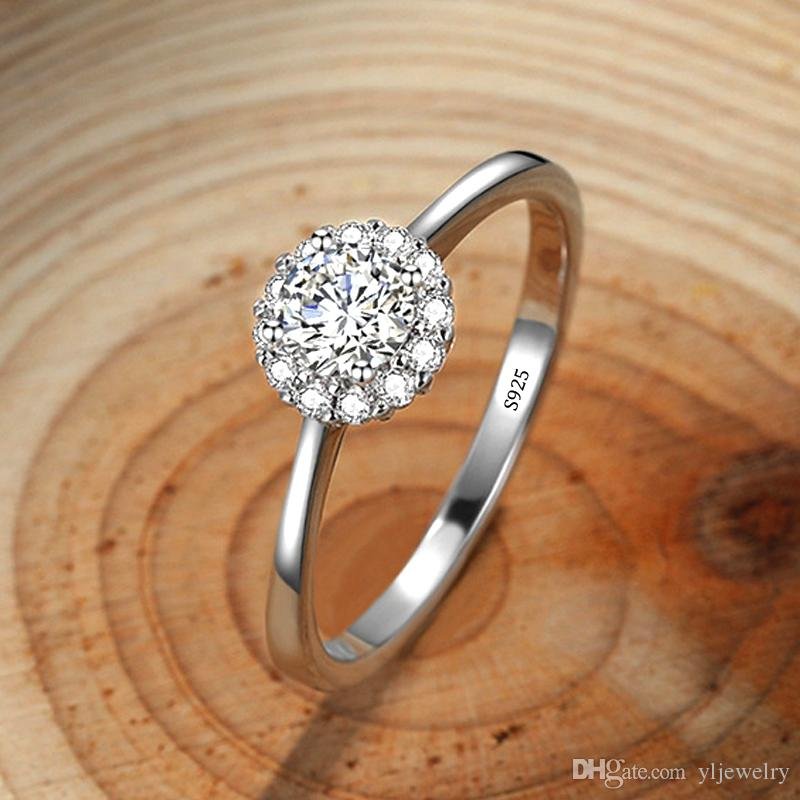 Luxus, Verlobung, Hochzeit für Frauen Runde CZ Zircon edlen Schmuck Weibliche Körper-925 Sterlingsilber-Ring Presents XR358