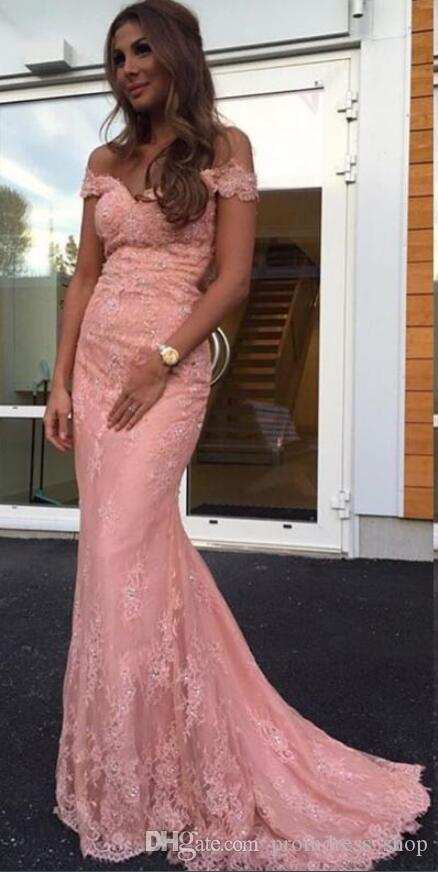 Evening Gowns Elegant 2020 Blush Pink Lace Evening Dresses Off the Shoulder Fitted Long Formal Prom Party Gowns Arabic Dress Sweep Train