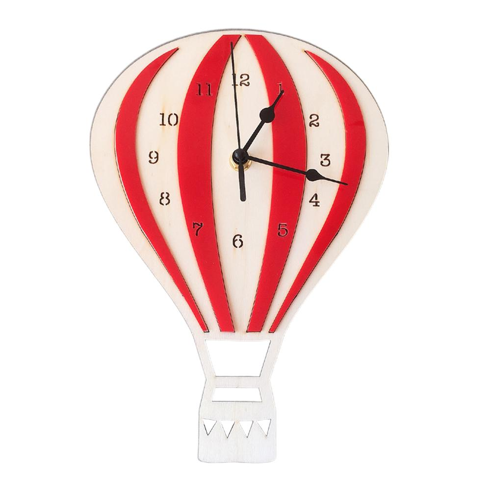 Affichage numérique en bois Easy Install Home Decor Mute Hot Air Balloon Forme Craft Nordic style Horloge murale enfants Chambre Salon