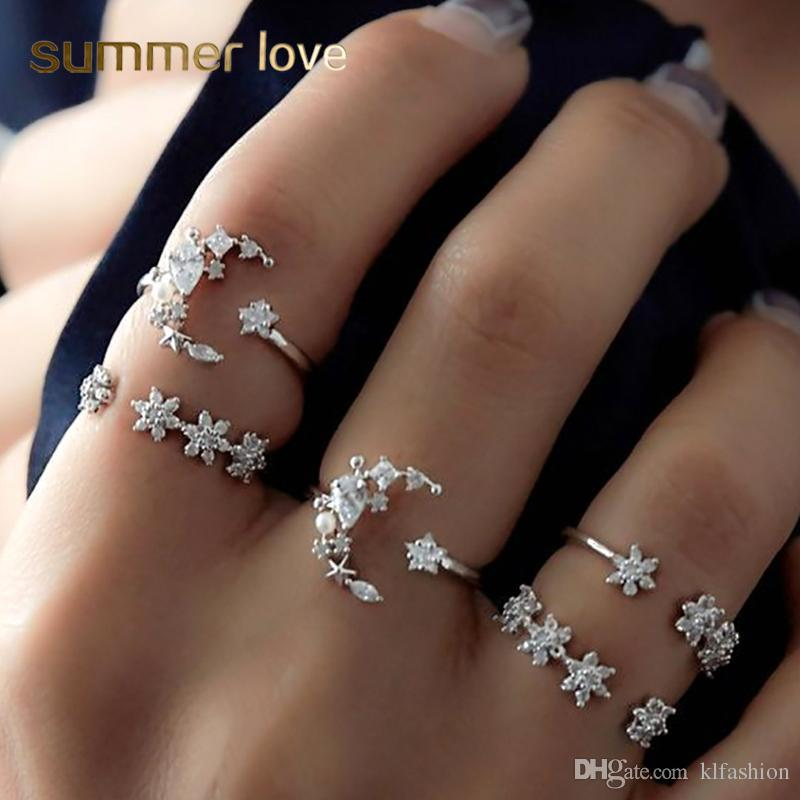 Fashion 5 Pcs/set Bohemia Retro Rhinestone Crystal Moon Star Simple Hollow Punk Personality Silver Open Ring Women Wedding Anniversary Gift