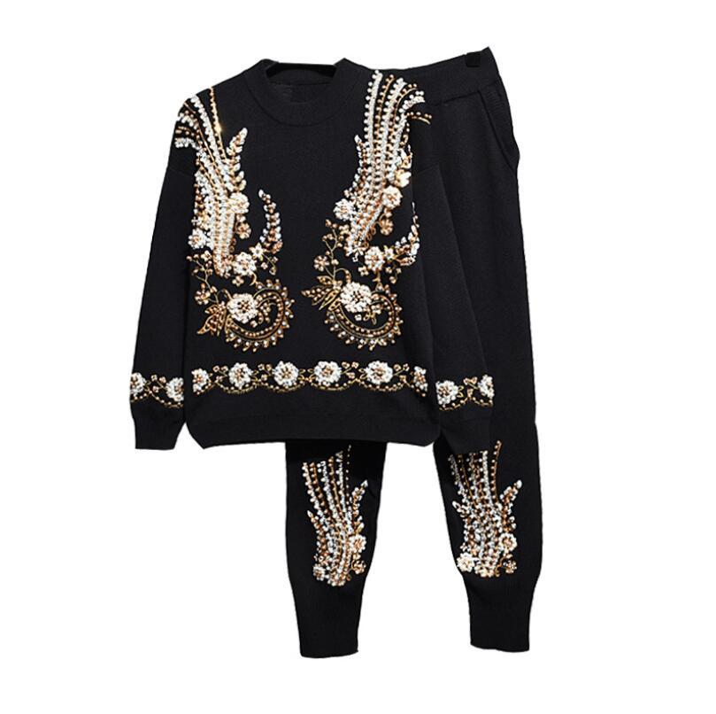 Осень зимние женщины из бисера вышивка с длинным рукавом трикотажные вершины + гарем брюки мода два частя набор W308