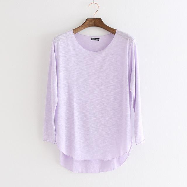 Femme maniche lunghe T Shirt Womens Tee camicia di cotone parti superiori delle donne lavoro di modo slaccia la camicia T-shirt