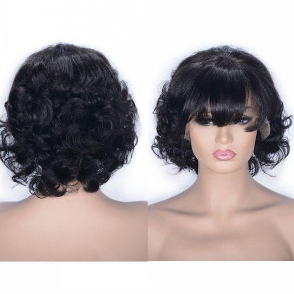 Brazilian Curly Lace Wig 1b# Short Lace Front Wigs Virgin Human Hair Glueless Wig with Bangs for Black Women