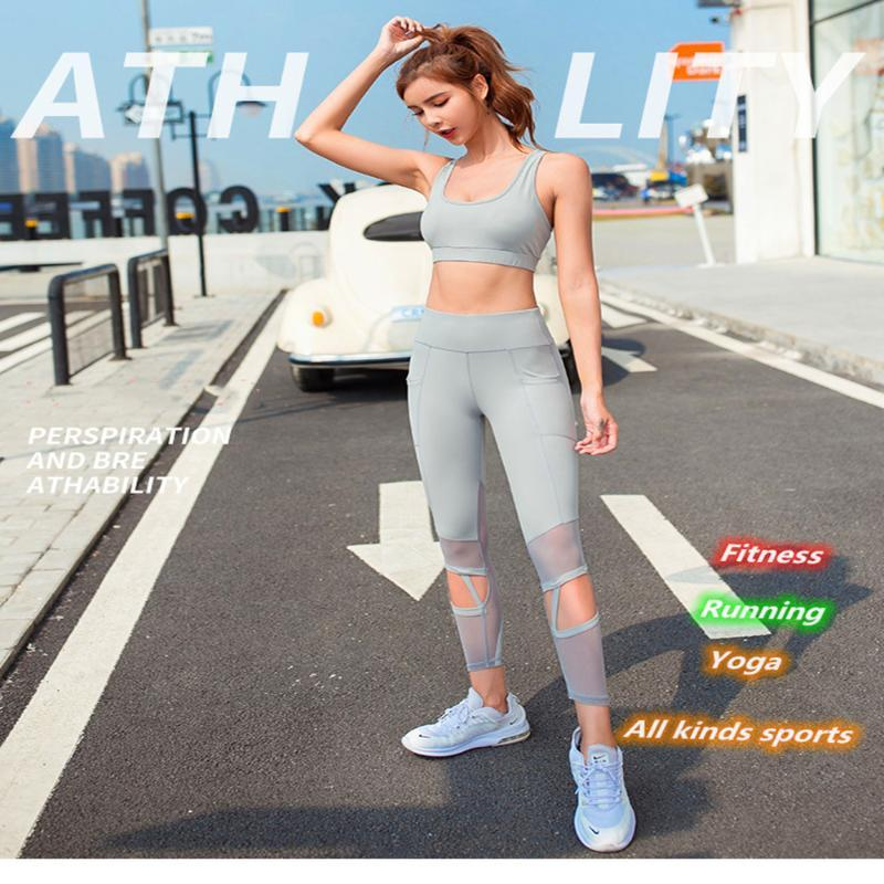 2020 Frauen Sportswear Yoga Set Sportklage Schnell trocknend Fitness Kleidung Sportbekleidung für Frauen 2pcs Set Seamless Gym Kleidung