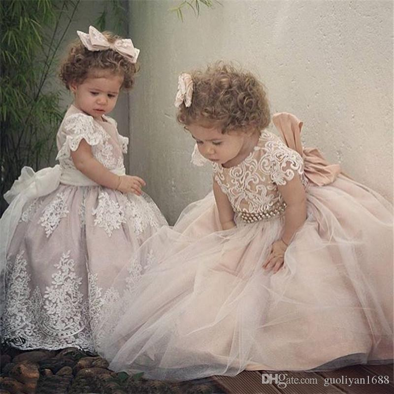 Eleganti Perline Paillettes ragazze Pageant Dresses 2018 Cristallo ragazza Comunione Ball Gown bambini Abiti formali dalle ragazze di fiore abiti per Wedding789