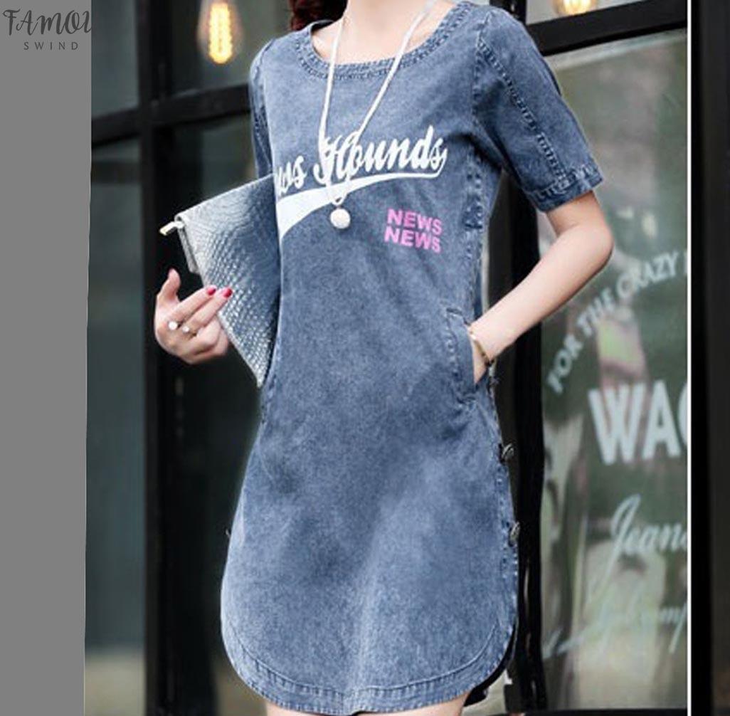 Короткие рукава карманные девушки джинсовой лета платья Джинсовые платья плюс размер Свободные платья лета женщин Vaqueros джинсы