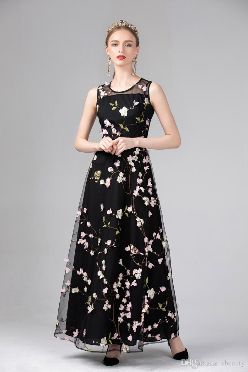 2019 New Arrival 2019 Women S O Neck Sleeveless Embroidery Appliques Party Wear Elegant Long Runway Designer Dresses From Xbeauty 61 49 Dhgate Com