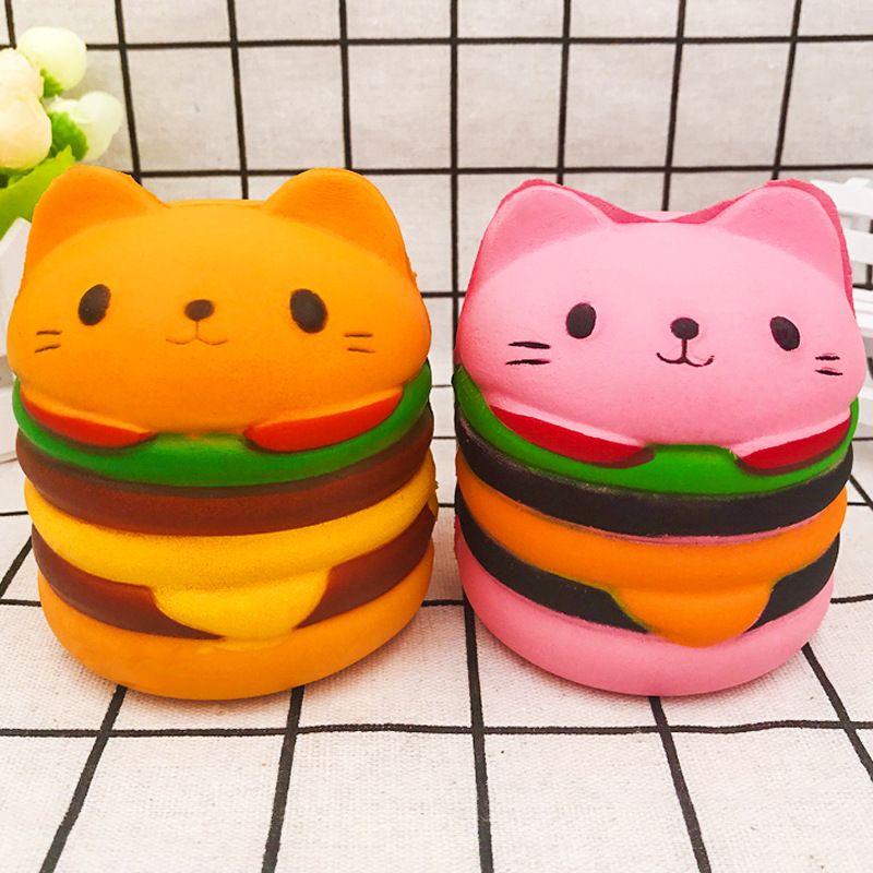 Simulation PU Kawaii Jumbo Cat Hamburger Cake Squeeze Squishy Slow Rising Stretchy Charms Cute Pendant Bread Kid Toy Gift Strap Free Shippin