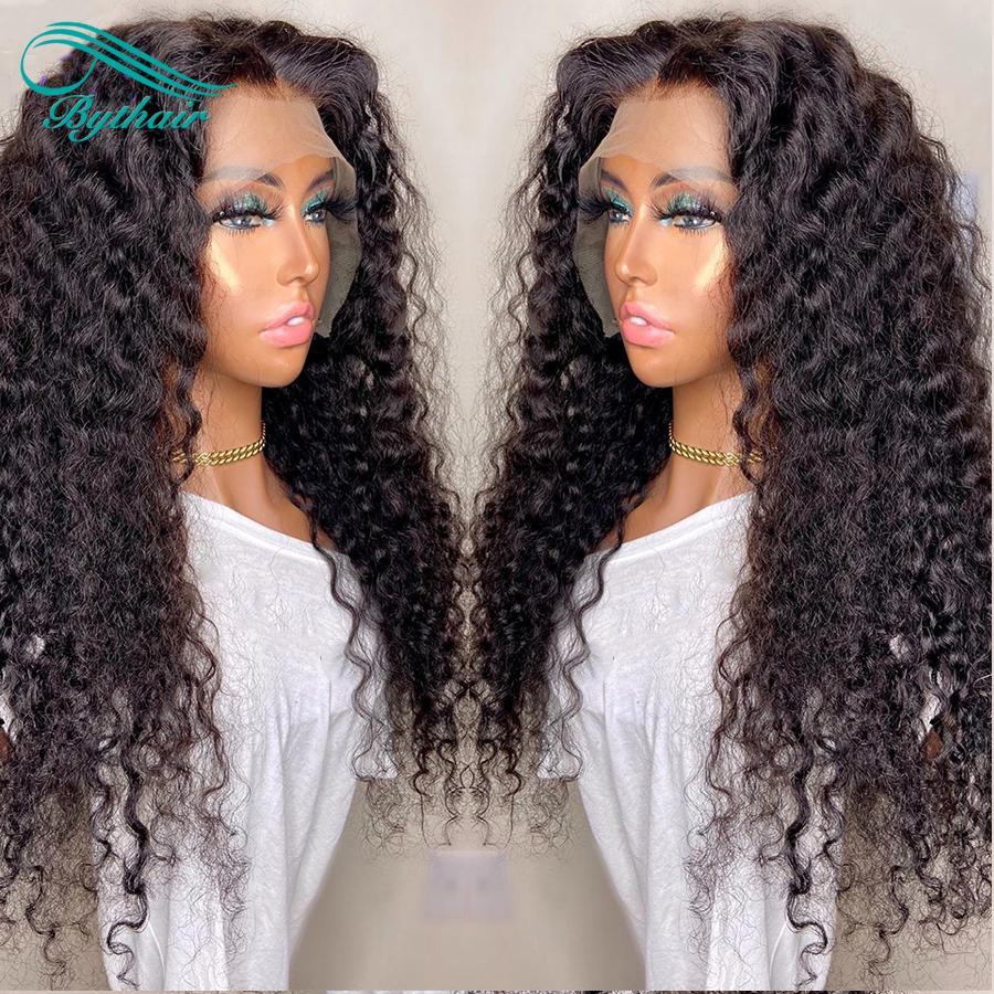 Bythair profonde Curly Lace Front perruques de cheveux humains Pré plumé Capillaires Cheveux brésiliens de Vierge de dentelle perruque avec bébé cheveux couleur naturelle
