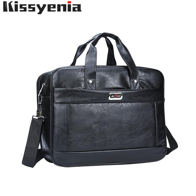 Kissyenia Brand PU Laptop Briefcase Men Bag Maleta de viaje de gran capacidad Business Laptop Malecase Male MasculinaKS1321MX190905