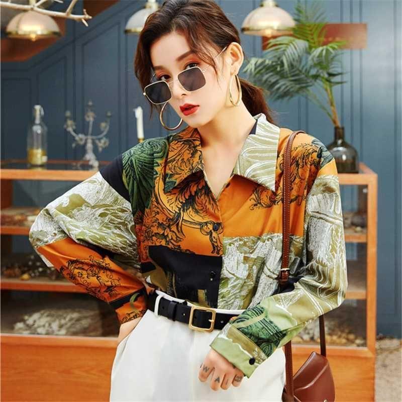 2020 de primavera y verano Nueva blusa de manga larga tapas de las mujeres de la vendimia de impresión camisas sueltas manera más la blusa de las mujeres Streetwear D3387
