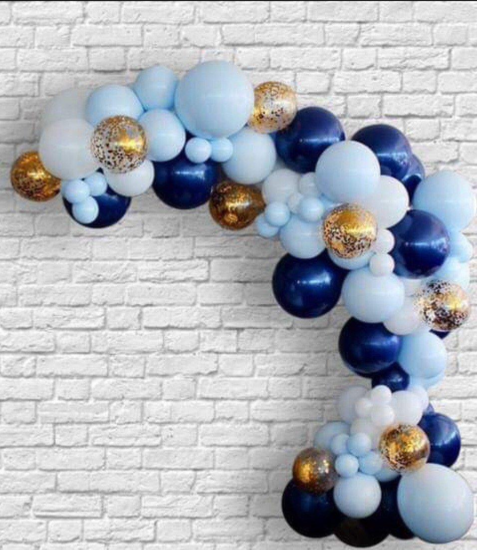 2021 Diy Macaron Blue Balloon Garland White Mixed Gold Confetti Balloons Navy Blue Ballons Wedding Birthday Baby Shower Party From Magicalparty 48 25 Dhgate Com