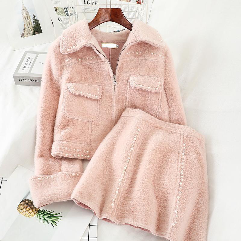 2019 neue Kleidung Herbst Winter Mode für Frauen helfen-length Rock zweiteiliger Anzug Frauen Mäntel und Jacken M028 T191026